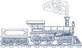 Vintage Steam locomotive vector Icon design template. train. Vector