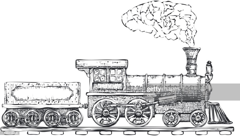 Vintage Steam locomotive vector icon design template. transport icon. Vector