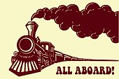 Vintage steam train locomotive with smoke vector. All Aboard!