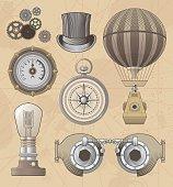 Vintage Steampunk vector design set