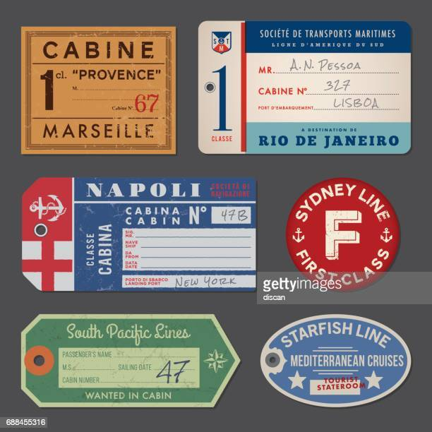 vintage steamship luggage labels and tags - travel tag stock illustrations, clip art, cartoons, & icons