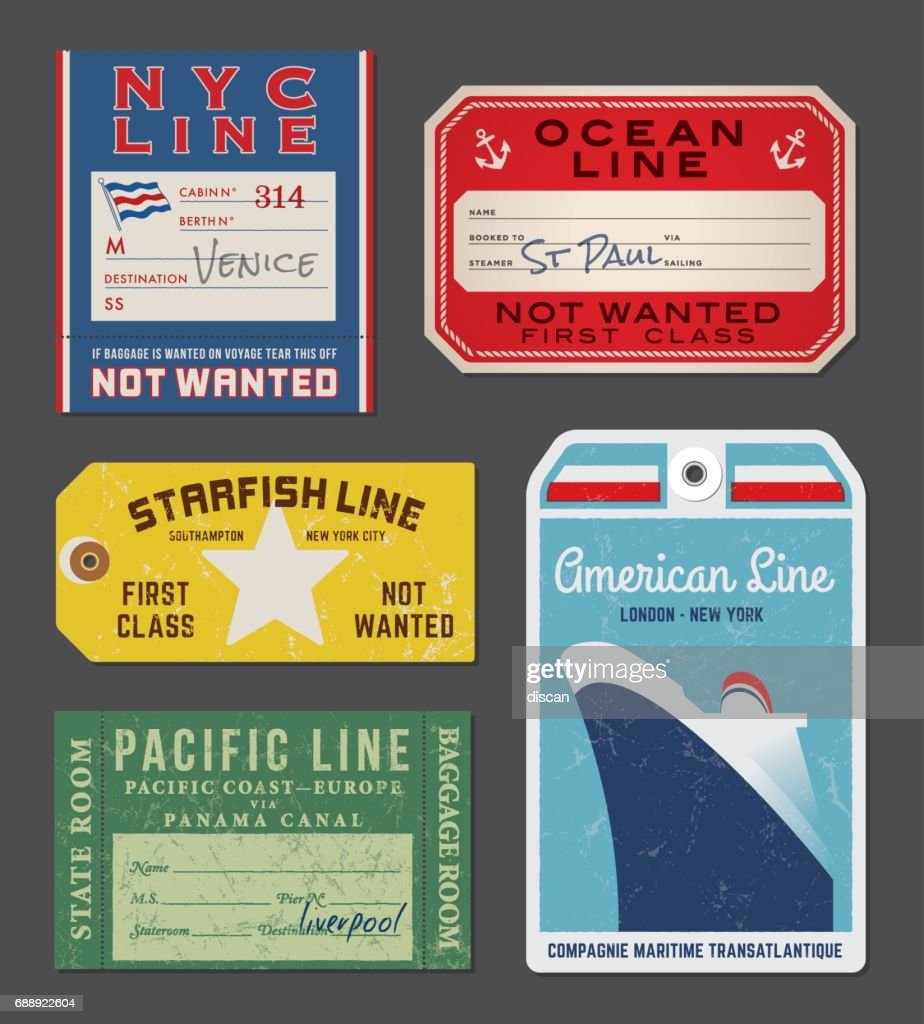 Vintage Steamship luggage Labels and tags : stock illustration