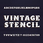 Vintage stencil typeface