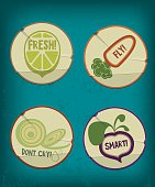 Vintage stickers with useful qualities of organic foods