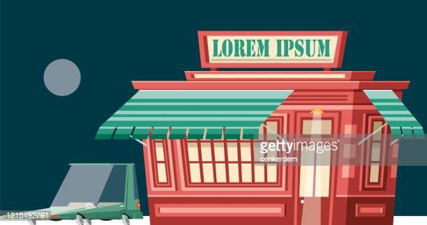 ilustrações, clipart, desenhos animados e ícones de loja vintage - lorem ipsum