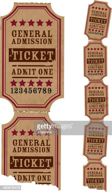 vintage strip of tickets - fairground stock illustrations
