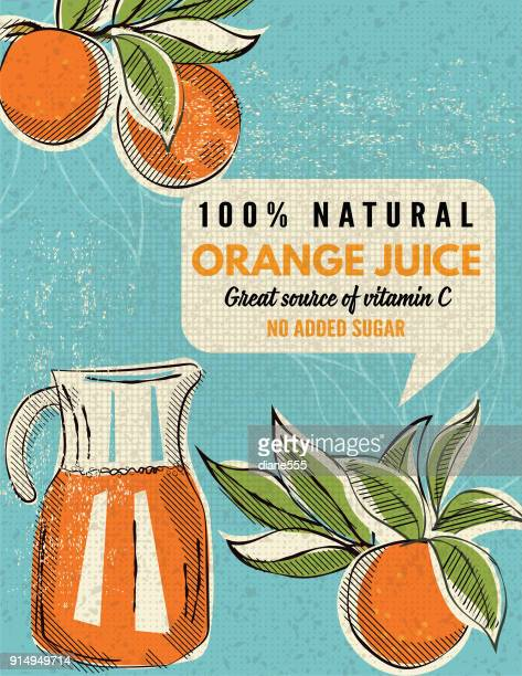 vintage style advertising oranges poster - fruit juice stock illustrations, clip art, cartoons, & icons