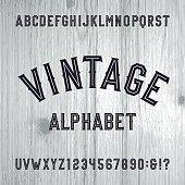 Vintage style alphabet vector font.