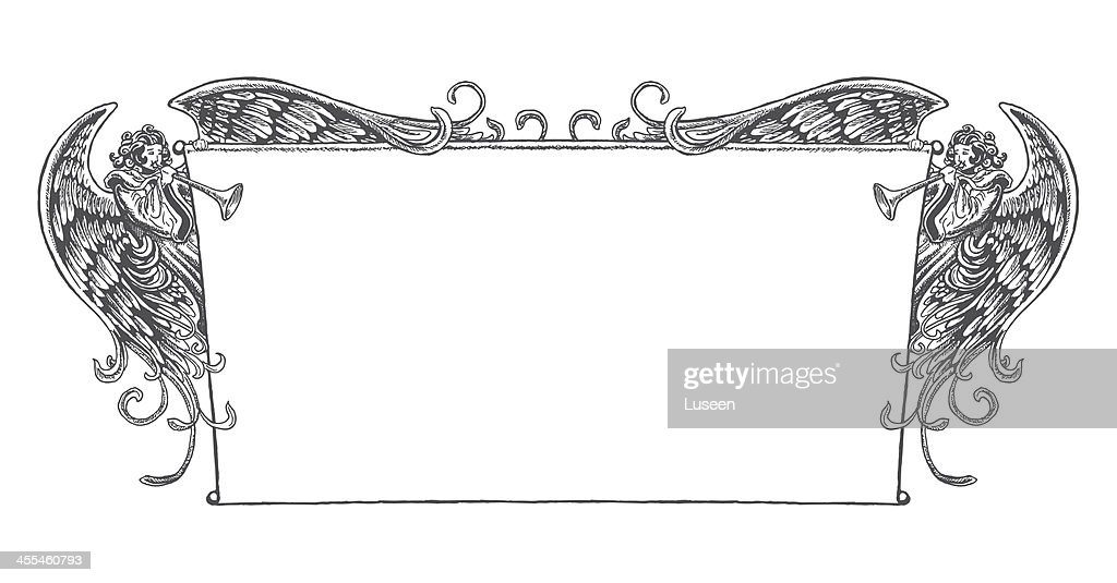 Vintage Style Banner Flanked by Angels