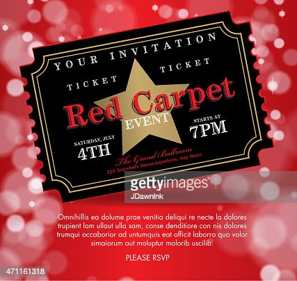Vintage Style Black On Red Carpet Event Ticket Invitation Template ...
