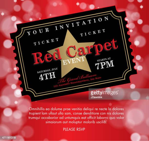 vintage style black on red carpet event ticket invitation template - gala stock illustrations