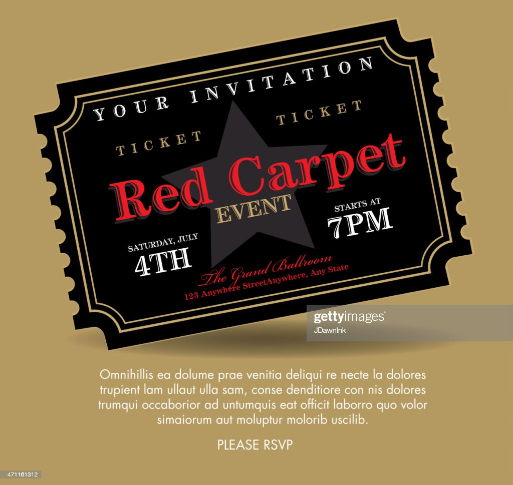 Vintage style black simple Carpet Event ticket invitation template