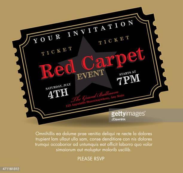 illustrations, cliparts, dessins animés et icônes de tapis noir de style vintage invitation modèle de billet événement - red carpet event