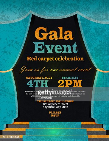Vintage Style Blue Curtian Gala Event Invitation Template Vector Art ...
