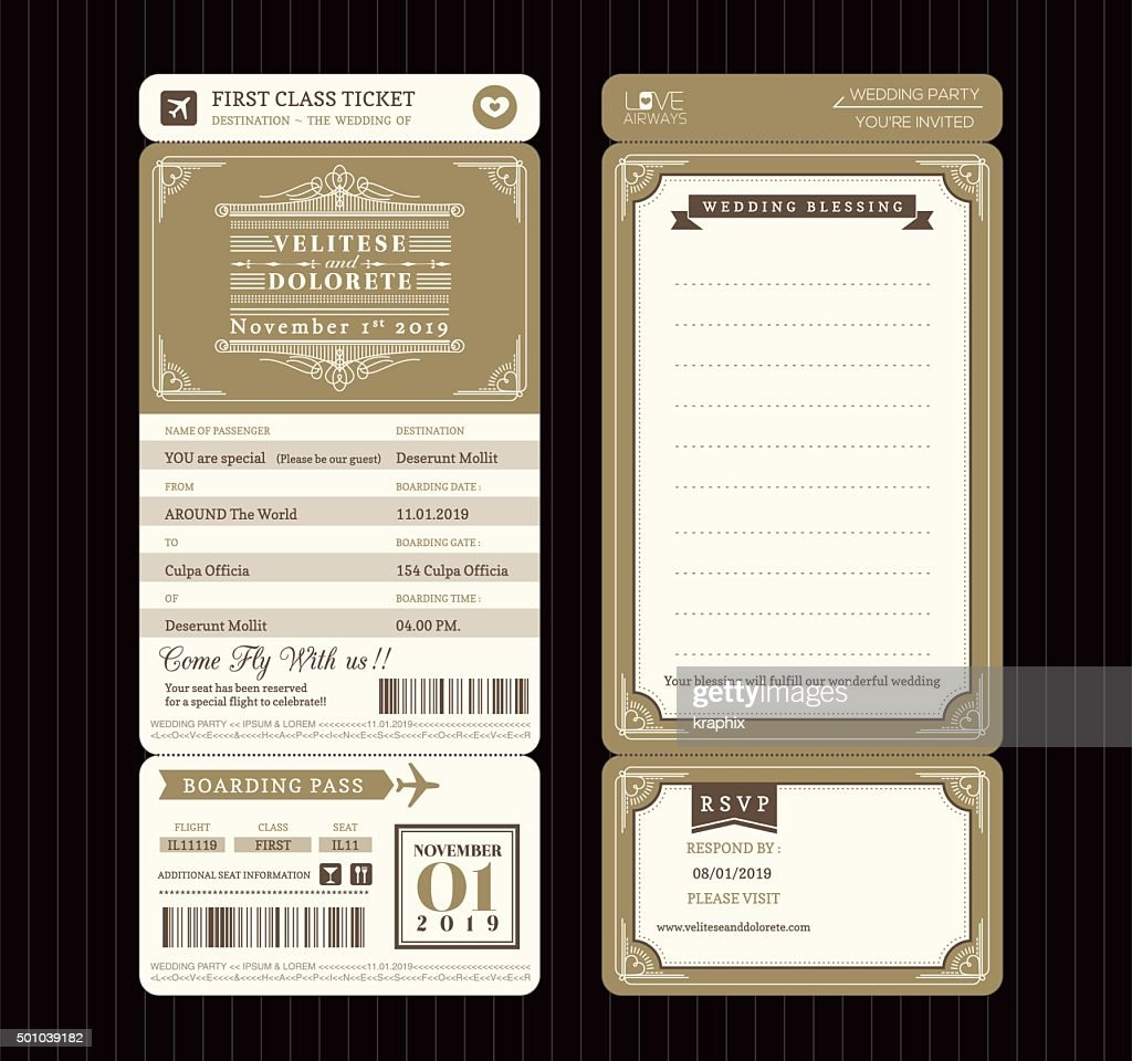 Vector · Vintage Style Boarding Pass Ticket Wedding Invitation Template  Vector ...  Plane Ticket Invitation Template