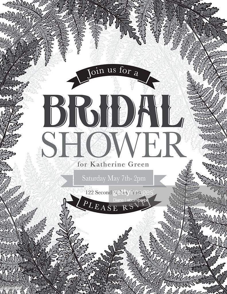 Vintage style botanical ferns bridal shower invitation vector art vintage style botanical ferns bridal shower invitation vector art filmwisefo