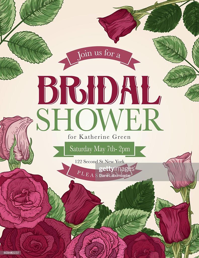 Vintage style botanical floral bridal shower invitation vector art vintage style botanical floral bridal shower invitation vector art filmwisefo