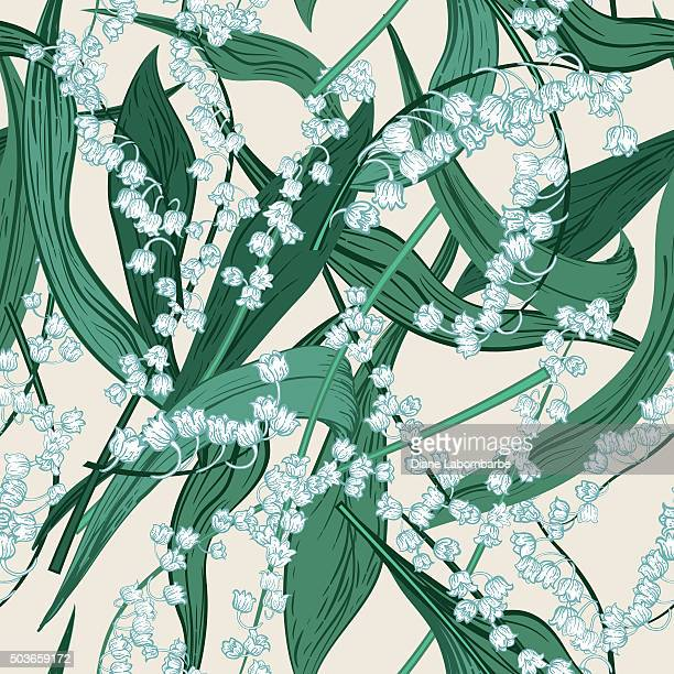 Vintage Style Botanical Lily Of The Valley Seamlesss Pattern