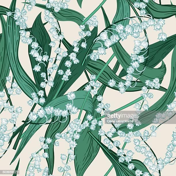 Vintage-Stil Botanical Maiglöckchen Seamlesss Muster