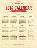 Vintage style calendar template with textured background