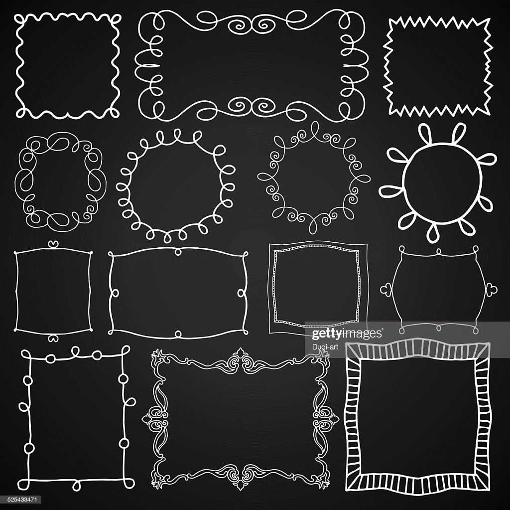 Vintage style chalkboard design elements set