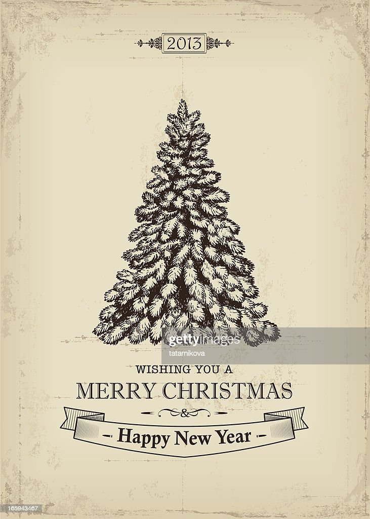 Vintage Style Christmas Card With Tree Vector Art | Getty Images