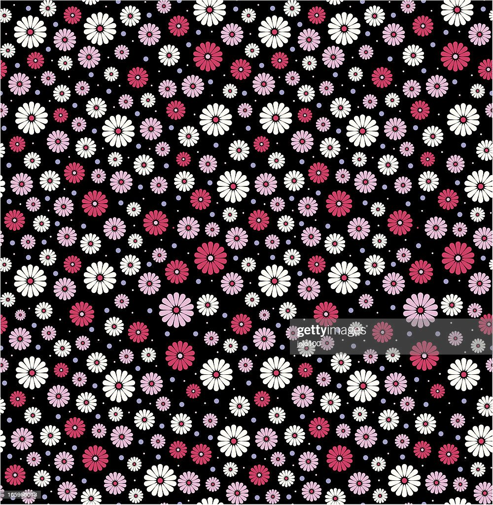 Vintage Style Daisy Flower Pattern In A Seamless Repeat Vector Art