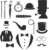 Vintage style design hipster gentleman vector illustration black silhouette design mustache element