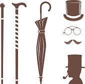 Vintage style design hipster gentleman vector illustration brown silhouette design mustache element