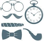 Vintage style design hipster gentleman vector illustration gray silhouette design mustache element
