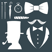 Vintage style design hipster gentleman vector illustration white silhouette design mustache element
