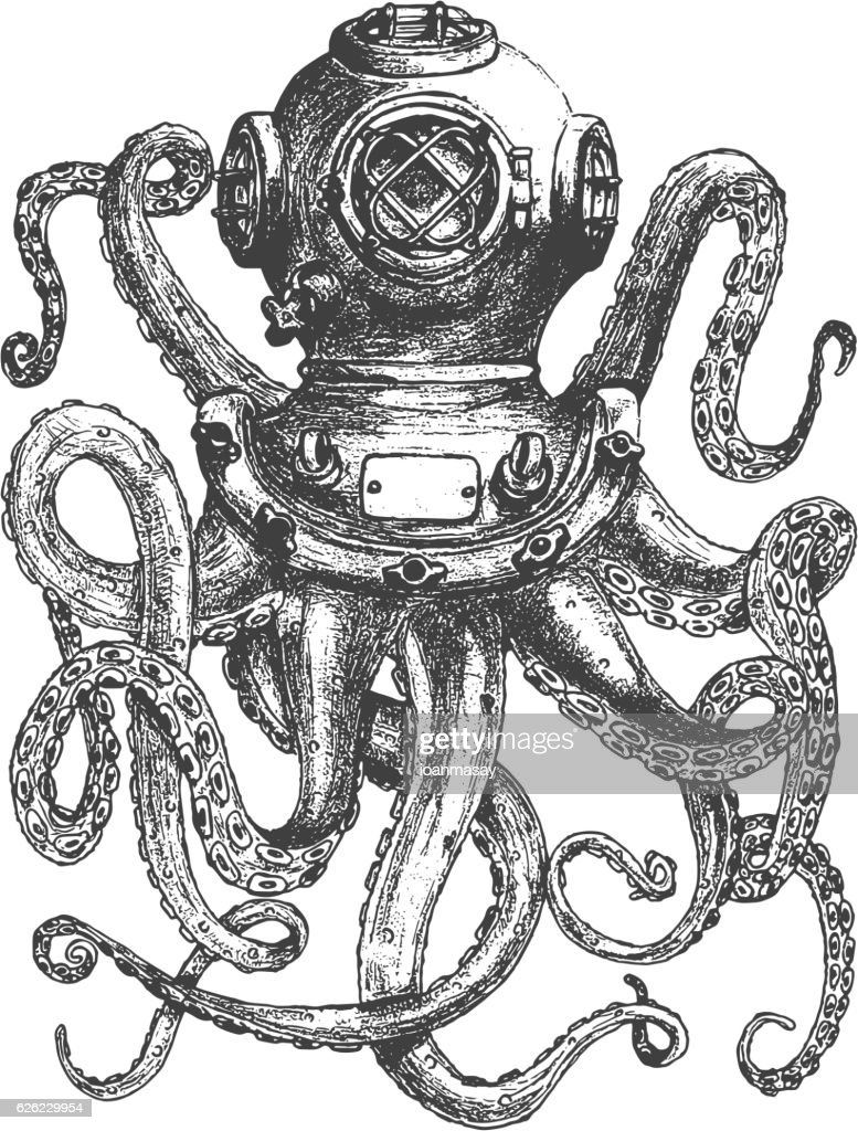 Vintage style diver helmet with octopus tentacles