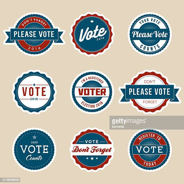 vintage style election voter campaign badges - political rally stock illustrations, clip art, cartoons, & icons