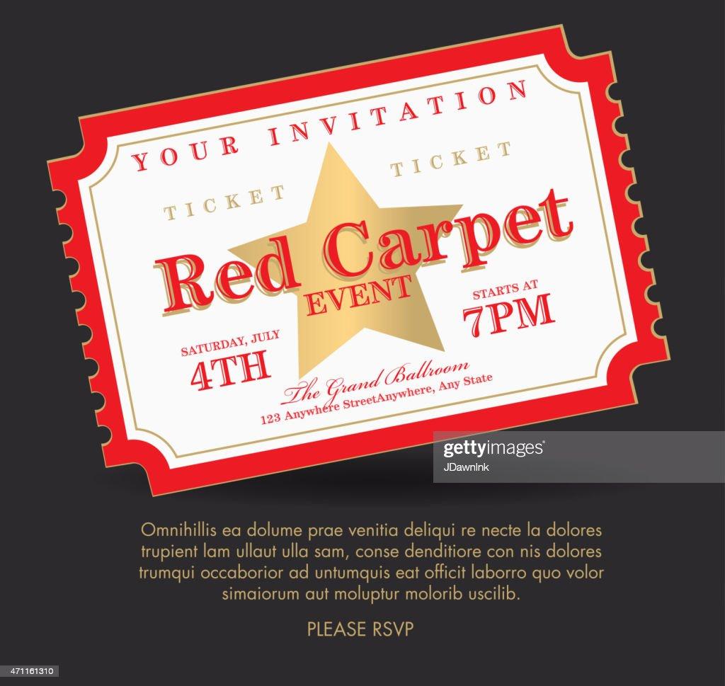 Vintage style generic Carpet Event ticket invitation template