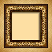 Vintage style gold frame, baroque, victorian ornament