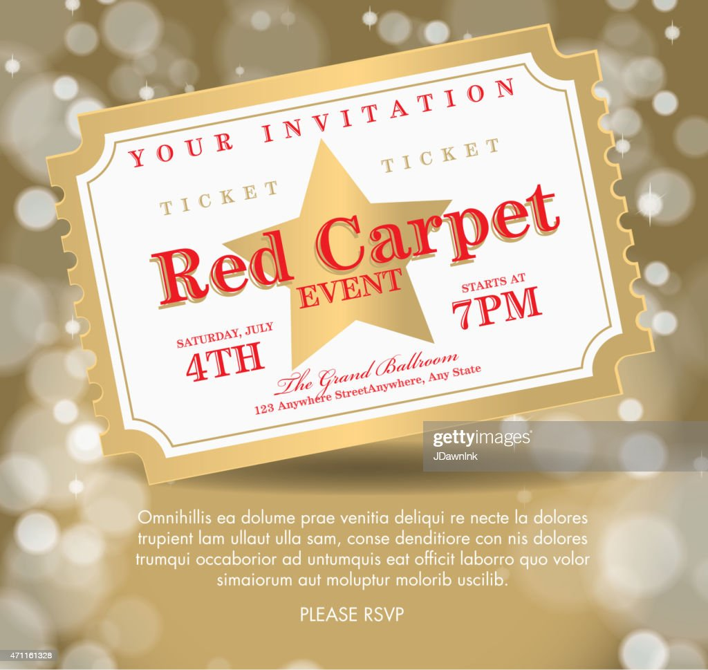Vintage Style Golden Carpet Event Ticket Invitation Template Vector