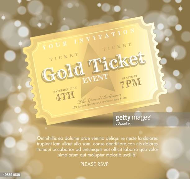 stockillustraties, clipart, cartoons en iconen met vintage style golden ticket invitation template - gala