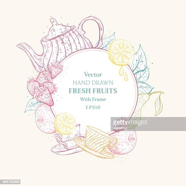 Vintage Style Hand Drawn Fruits With Frame For Text
