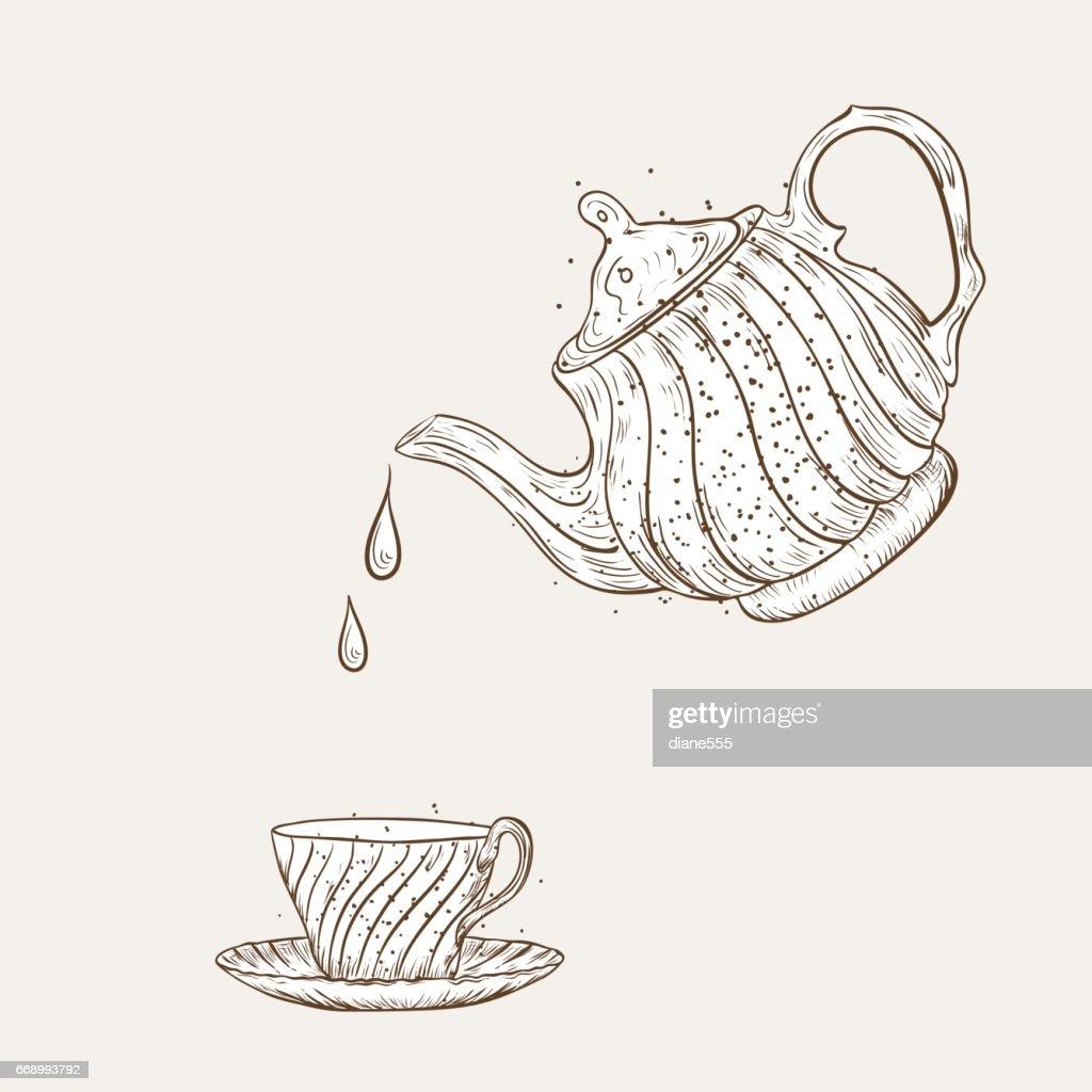 Vintage Style Hand Drawn Tea With Texture : stock illustration