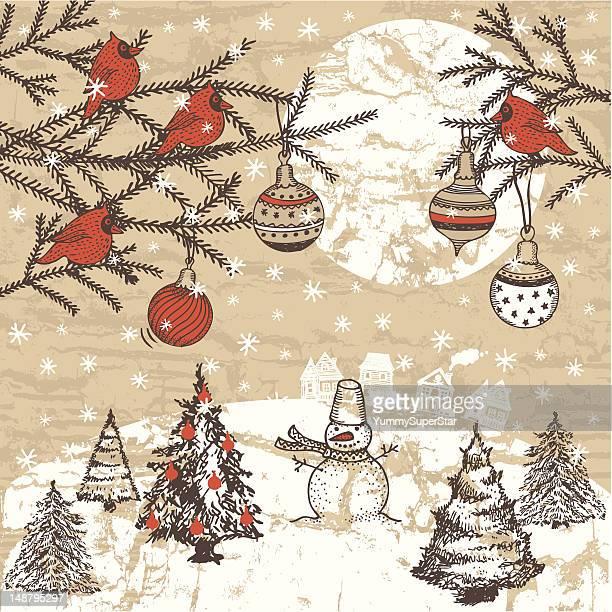 Vintage style hand-drawn Christmas illustration