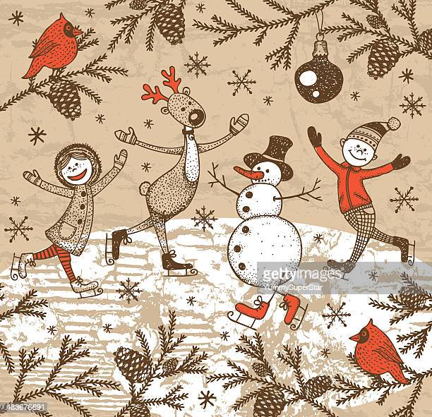 vintage style hand-drawn christmas illustration - ice skating stock illustrations, clip art, cartoons, & icons