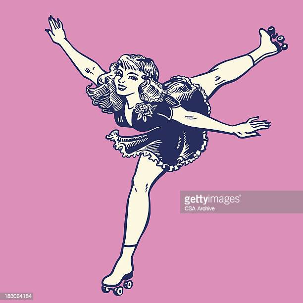 Vintage style illustration of a woman rollerskating