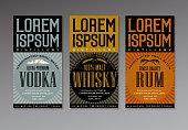 vintage style label design templates for vodka, whiskey and rum bottles