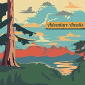 Vintage Style Landscape Background Vector