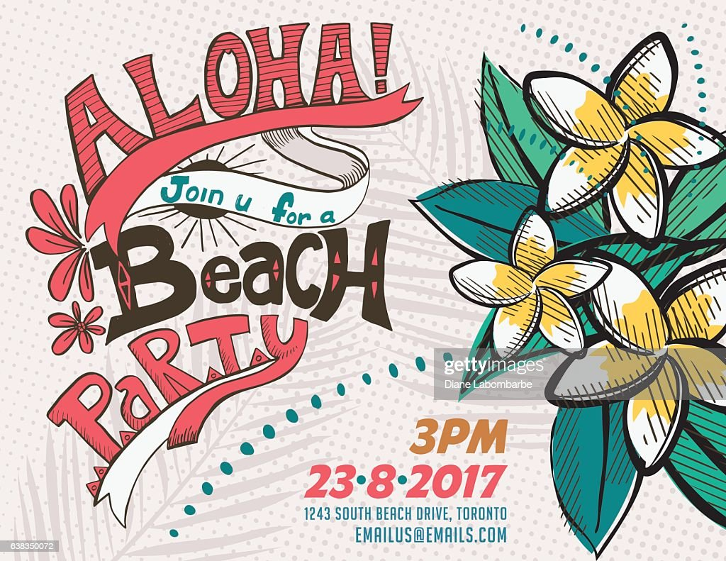 vintage style luau party invitation template vector art getty images