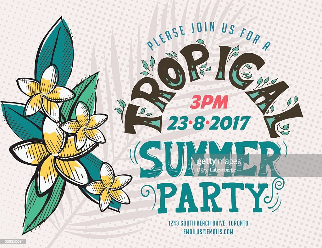 Vintage style luau party invitation template vector art getty images vintage style luau party invitation template vector art stopboris Images