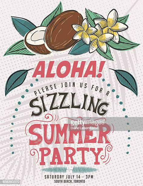 vintage style luau party invitation template - coconut leaf stock illustrations, clip art, cartoons, & icons