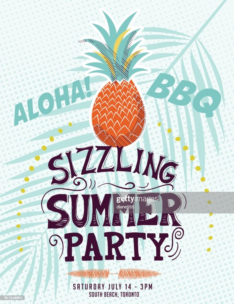 Vintage Style Luau Party Invitation Template Stock Illustration