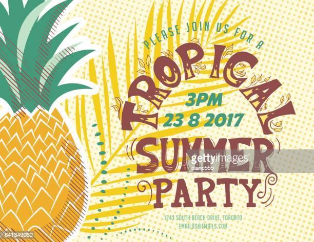 illustrations, cliparts, dessins animés et icônes de luau style vintage modèle d'invitation fête - ananas