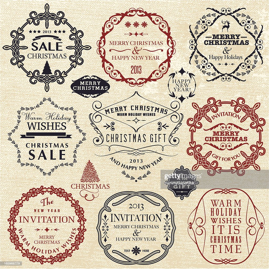 vintage style new year and christmas labels vector art